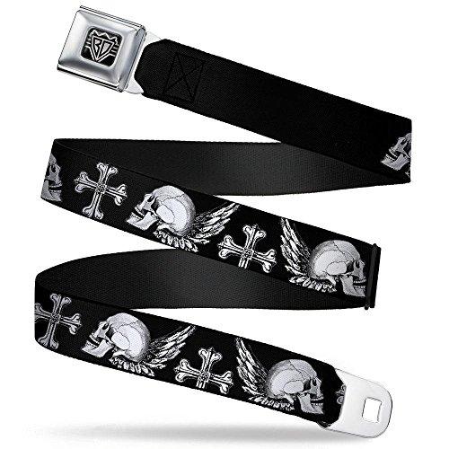 Skull White Wings - Buckle-Down Seatbelt Belt - BD Skulls w/Wings Black/White - 1.5