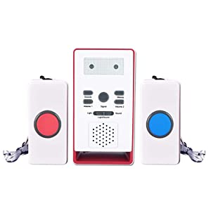 FUNRUI Home Safety Patient Alert Alarm System Wireless Alarm Care Emergency Call Button Elderly Monitor Caregiver Personal Security Pager for Elderly Kids (2 Transmitters 1 Receiver)