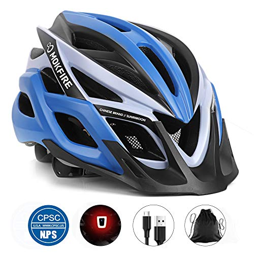 MOKFIRE Adult Bike Helmet CPSC Certified Bicycle Cycling Helmet with USB Light/Removable Visor/Replacement Pad Adjustable Mountain Road Biking Helmets for Adults Men Women 22.44-24.41 Inches (Blue)