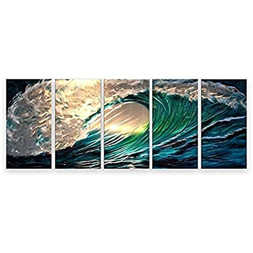 Matthewu0027s Art Gallery Metal Wall Art Abstract Modern Seascape Contemporary  Home Decor 5 Panels Waves
