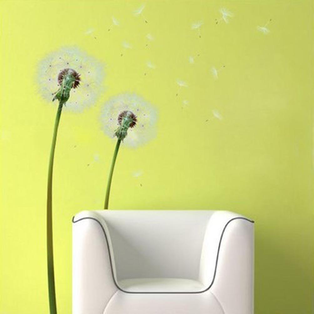 Amazon.com: BIBITIME Green Stems White Dandelion Wall Art Nature ...
