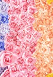 Leyiyi 5x7ft Spring Flower Petals Backdrops 3D Rose Wall Garden Floral Paper Flowers Kids Birthday Banner Baby Shower Wedding Photography Background Cake Table Photo Studio Prop Vinyl Wallpaper