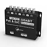 Power And Ethernet Over Coax Transmitter - LAZYCAT LCIOPCT 7 BNC Port PoC & EoC Gigabit Switch Powering and Connecting 7 Network Surveillance Cameras For 1000ft, Plug & Play, Easy Upgrade Analog To IP