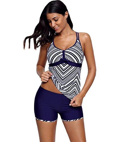 bbc178a3d7b69 Lalagen Women s Straps Swimdress Plus Size Two Pieces Tankini Bikini Set  Navy L
