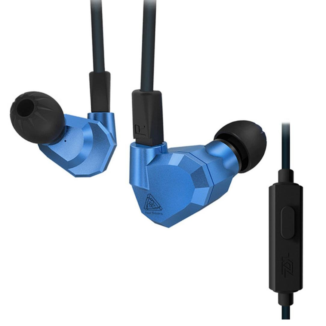YRD Tech Double Hybrid Dynamic and Balanced Armature Sport Earphone with Mic Blue