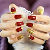 JINDIN 24 Sheet Long Square Fake Nails with Glue French Nail Tips Artificial False Nails Full Cover Salon Home Manicure Art for Women Bride