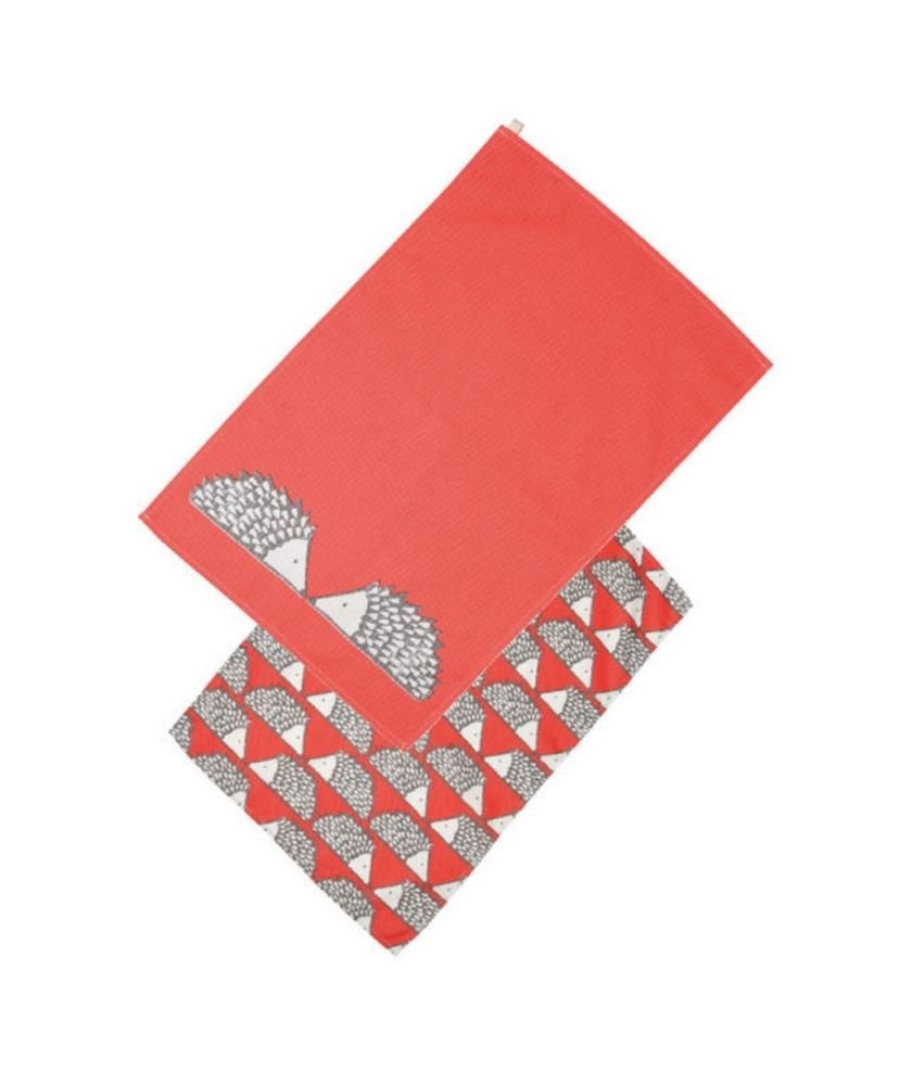 Spike The Hedgehog Set Of 2 Red Tea Towels By Scion Living