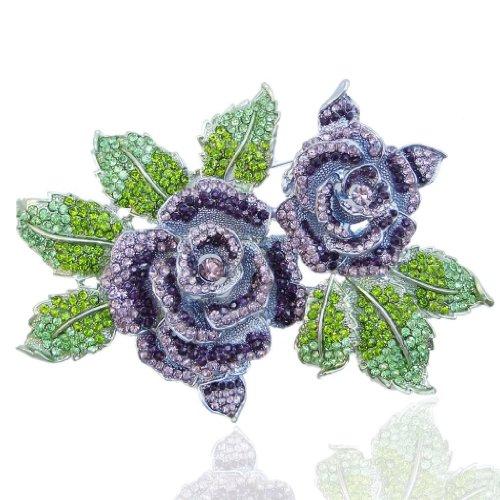 Silver Tone Leaf Brooch - EVER FAITH Austrian Crystal 6 Inch Romantic Blooming Rose Flower Leaf Brooch Purple Silver-Tone