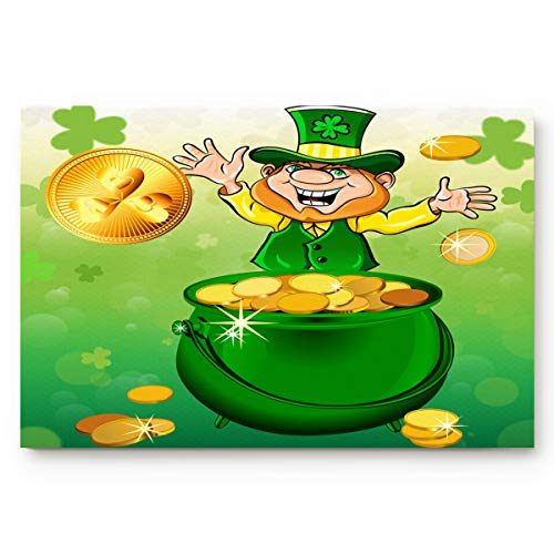 WHITEMOOM Accent Area Rug Office Floor Mats Front Doormats Non-Slip Bedroom Home Kitchen Rug, Leprechauns Throw Gold Coin St. Patrick's Day Irish Clover Silhouette Backdrop, 20 by 31.5-Inch