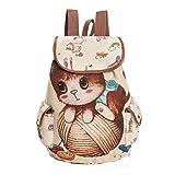IEason bag, Women Cute Cat Printing Canvas Drawstring Backpack Shopping Bag Travel Bag (B)