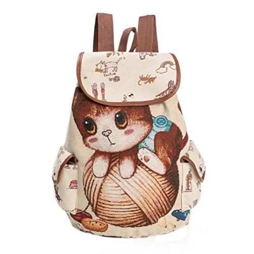 IEason bag, Women Cute Cat Printing Canvas Drawstring Backpack Shopping Bag Travel Bag (B) by IEason-Bag