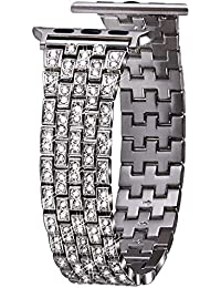 VIQIV Bling Bands for Compatible Apple Watch Band 38mm 40mm 42mm 44mm iWatch Series 4 3 2 1, Dressy Diamond Bracelet Rhinestone Metal Jewelry Wristband Strap for Women Silver