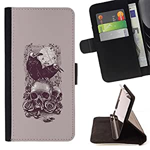 Momo Phone Case / Flip Funda de Cuero Case Cover - Cuervo Poe cráneo de la muerte del vampiro gris - Huawei Ascend P8 Lite (Not for Normal P8)