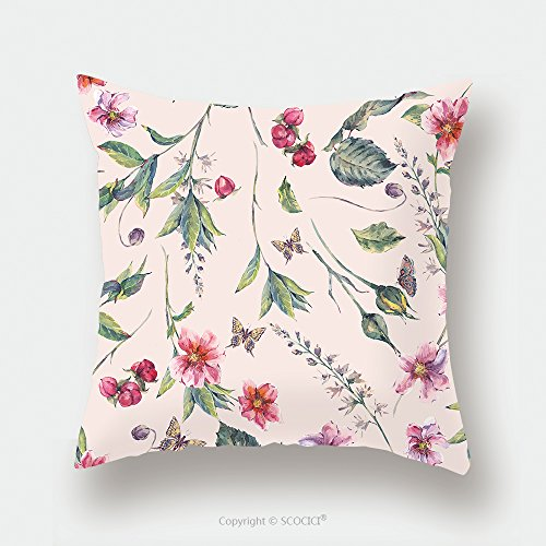 Custom Satin Pillowcase Protector Watercolor Vintage Floral Seamless Background With Pink Wildflowers And Butterflies Natural 475328422 Pillow Case Covers Decorative by chaoran