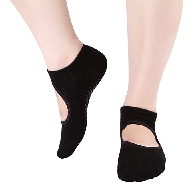 Yoga Socks with Grip Non Skid Socks for Ballet, Pilates, Barre, One Size 5-10