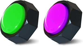 Set of 2 Colors, Recordable Button, Dog Buttons,Dog Training Buttons,Talking Button, Record & Playback Any 30 Seconds Your Own Message (Battery Included) (2Pack(Green+Purple))