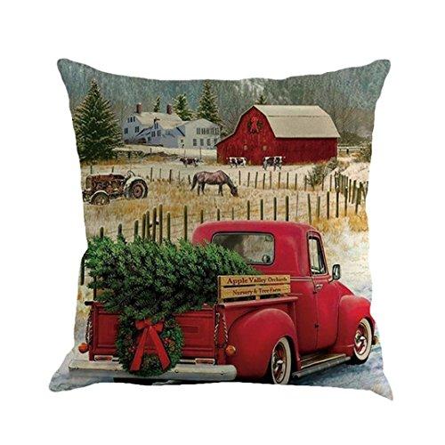Pillow Case,AutumnFall 45cmX45cm Square Car Pattern Christmas Cotton Linen Sofa Car Home Waist Cushion Cover Throw Pillow Case (G)