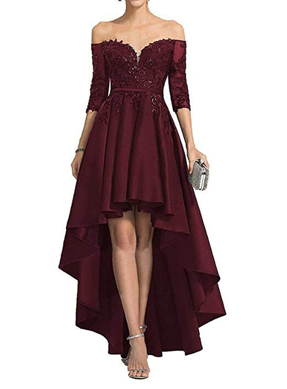 Dark Burgundy alilith.Z Sexy Off The Shoulder Prom Dresses High Low 3 4 Sleeves Beaded Lace Satin Evening Dresses Party Gowns for Women