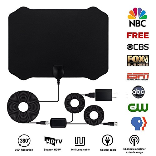Indoor Usb Digital TV Antenna 50-75 my AMPLIFIED 1080P signal range tv satellite antenna receiver (Dish Indoor Satellite)