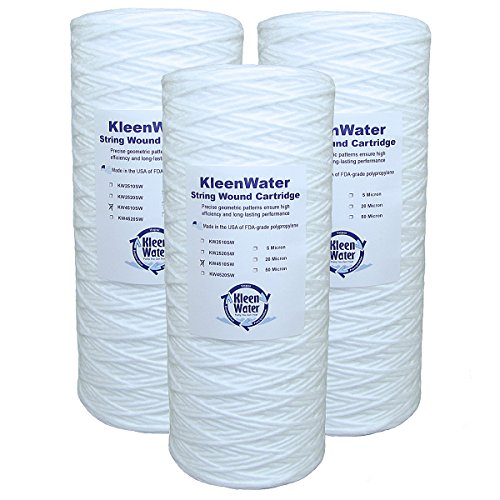Three Aqua-Pure AP814 & Pentek WP5BB97P, WPX5BB97P, WP5BB975 Compatible Water Filter Cartridges - 4.5 x 10 Inch - String Wound Replacement Filters - 20 Micron - by KleenWater