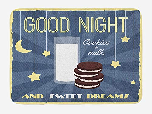 (Sweet Dreams Bath Mat, Retro Poster with Chocolate Biscuits and a Glass of Milk Good Night Quote, Plush Bathroom Decor Mat with Non Slip Backing, 23.6 W X 15.7 W Inches, Multicolor )