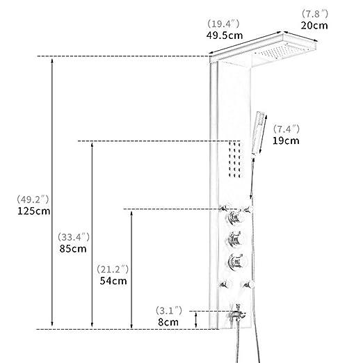 LYDZ-Towel Bars Ducha termostática Piezas de baño de Acero Inoxidable Mampara de Ducha (Bath & Shower Faucet Type : Shower Panels): Amazon.es: Hogar