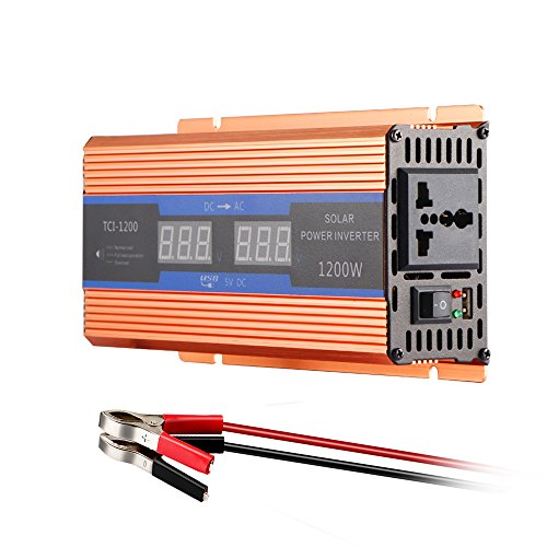 AOZBZ 700W Pure Sine Wave Car Power Inverter 1200W Peak Power DC 12V to 220V AC Converter with LCD Display, AC Outlets and USB Ports -