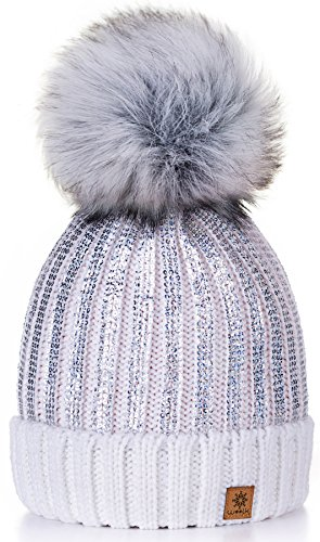 4sold Beanies Lady Circle Bonnet Pompom Size de mujer Winter mayor por Gold al Color punto White Filled y One para xwwr45qd