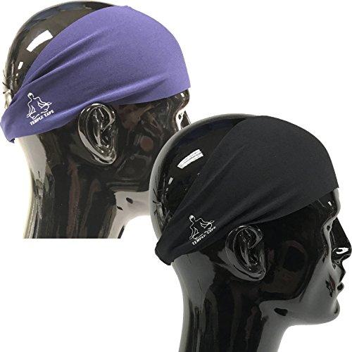 (Value 2-Pack, Mens Headband - Guys Sweatband & Sports Headbands Moisture Wicking Workout Sweatbands for Running, Cross-Train, Skiing and Bike Helmet Friendly - Value Pack - 1-Black & 1-Navy Sweatband)