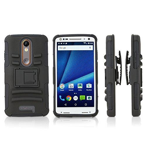 Motorola Droid Turbo 2 Holster, BoxWave [Dual+ Max Holster] Shell Cover and Belt Clip Holster with Kickstand for Motorola Droid Turbo 2 - Pitch Black