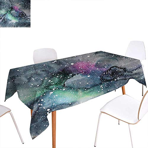 """Warm Family Psychedelic Patterned Tablecloth Space Galaxy Inspired Hazy Grunge Modern Celestial Cosmic Fantasy Design Print Dust-Proof Oblong Tablecloth 60""""x84"""" Multicolor from Warm Family"""
