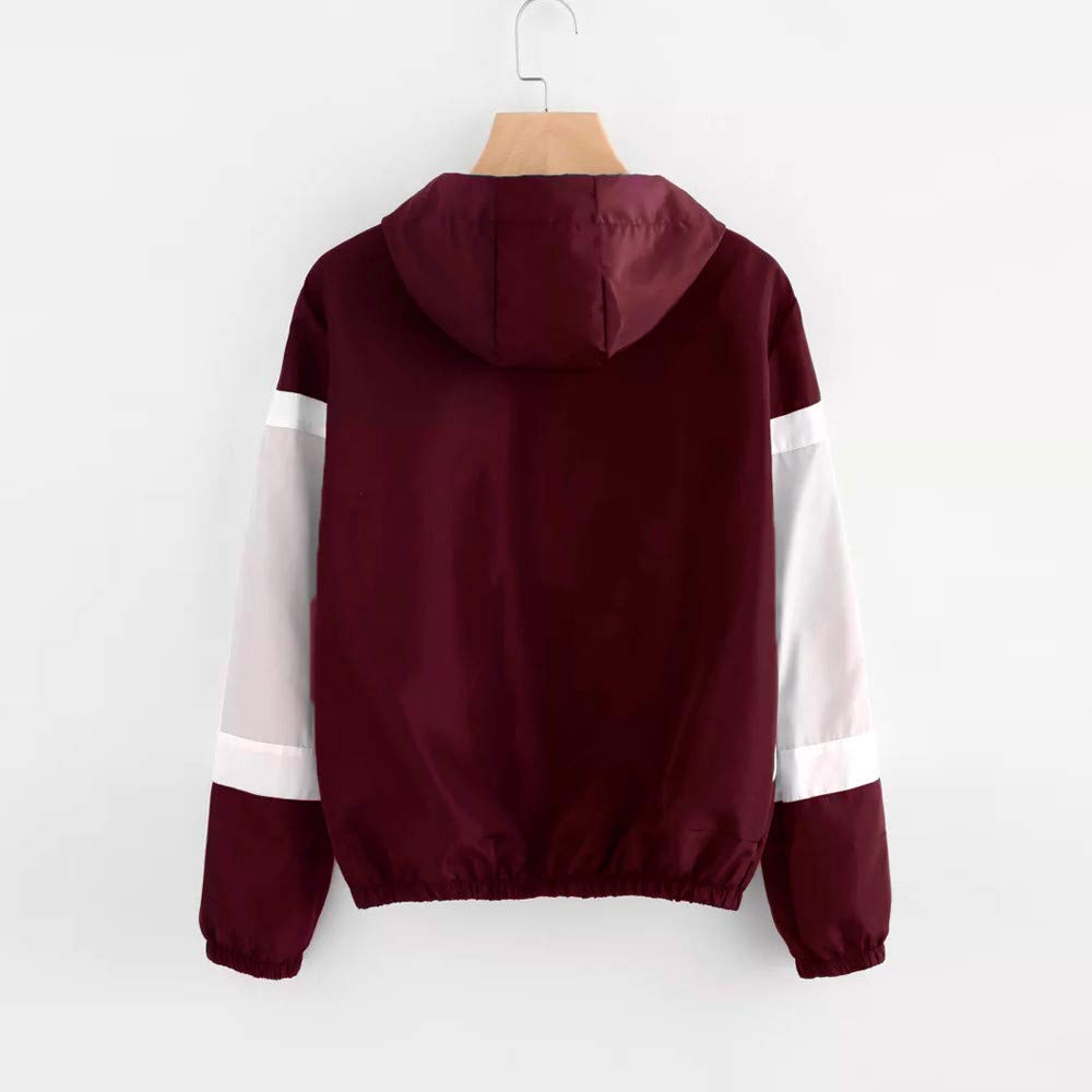 Daoope Manica Lunga da Donna Semplice Vento Che impiombatura Thin Tops Set Hooded Sweater Zipper Pocket Coulisse Sports Jacket