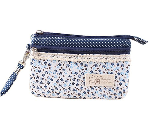 OSHOW Womens Floral Coin Purse Canvas Cellphone Wallet Wristlet Pouch, Navy (Small Wristlet)