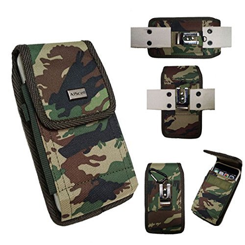 Camoflauge Case - LG X venture ~ Pouch Holster RUGGED Camoflauge Nylon Canvas Carrying Case with 2 Way Belt Loops+Carabiner Ring Hook (Great fit for protective cover or naked phone) (Camo)
