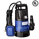 Yeshom 1HP 3432GPH 750W Submersible Dirty Clean Water Pump Swimming Pool Pond Flood Drain Heavy Duty Water Transfer