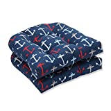 Pillow Perfect Outdoor/Indoor Anchor Allover Arbor Wicker Seat Cushion (Set of 2), Navy