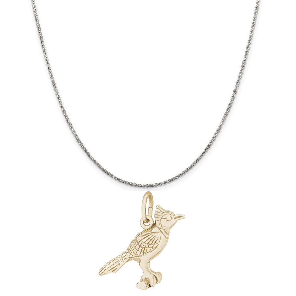Rembrandt Charms Two-Tone Sterling Silver Blue Jay Charm on a Sterling Silver 16 18 or 20 inch Rope Box or Curb Chain Necklace