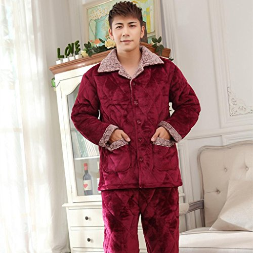 Men and women models pajamas flannel folder cotton warm and comfortable winter lovers paragraph three - thickening plus cashmere home service suits , male , xxl high-quality