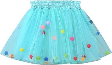 SXSHUN Falda de Tutú con Bolitas para Niñas Vestido de Tul para ...