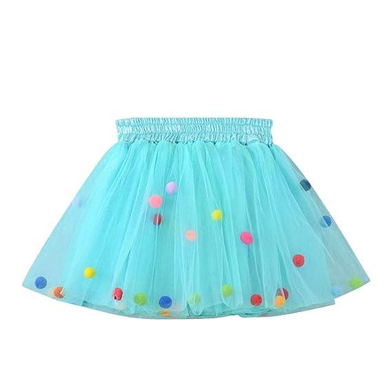 Sxshun Falda De Tutú Con Bolitas Para Niñas Vestido De Tul