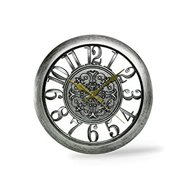 Dragonfly Royal Knight Emblem 11 Inch Wood Quartz ABS Antiquity European Wood Wall Clock, Silver