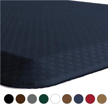 Kangaroo Brands Original 3/4  Anti Fatigue Comfort Standing Mat Kitchen Rug, Phthalate Free, Non-Toxic, Waterproof, Ergonomically Engineered Floor Pad, Rugs Office Stand Up Desk, 32x20 (Navy)