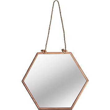 Beautify Miroir Hexagonal /à Suspendre /— Finition cuivr/ée Aspect Antique /— Style Vintage