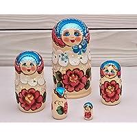 Matryoshka Ruso 5 piezas Muñecas de nido Babushka Rosas Azul kokoshnik