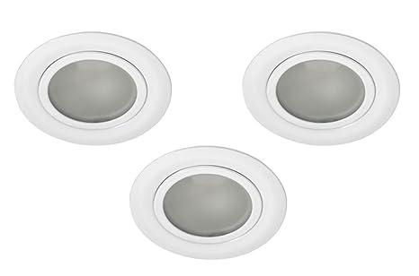 Lot de 3 spots encastrables pour meuble meuble avec façade satinée 12 V G4  LED Blanc 15a3fc2bd852
