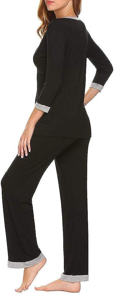 waitFOR Maternity Long Sleeve V Neck Tops Solid Color Patchwork Trousers Pregnant Women 2 pcs Pyjama Sets Button Down Nursing Blouse Shirt Pregnancy Tracksuit Bottoms Long Pants