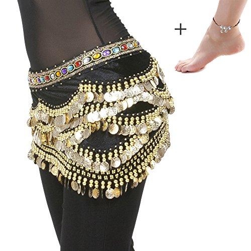 Profession Velvet Belly Dance Hip Scarf with 328 Gold Coins 150cm Colorful Gem Belt Performance Skirt Hip Wrap Black