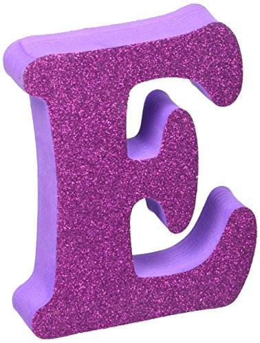 - Foamies 3-D Glitter Letter E: Rounded Serif Font, Colors May Vary