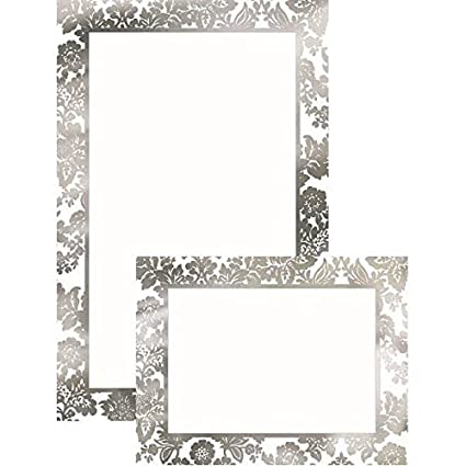picture regarding Printable Invitations Kit known as : Amscan Social gathering Best Platinum Damask Printable