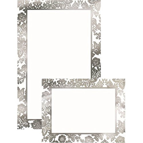 Amscan Party Perfect Platinum Damask Printable Wedding Invitations Kit (202 Piece), 8